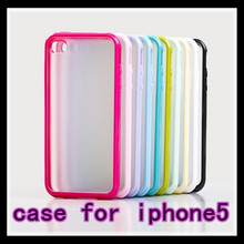 Wholesale Cheap pc+TPU back shell case for iPhone 5,TPU candy color case for iphone5,high quality ,Free shipping