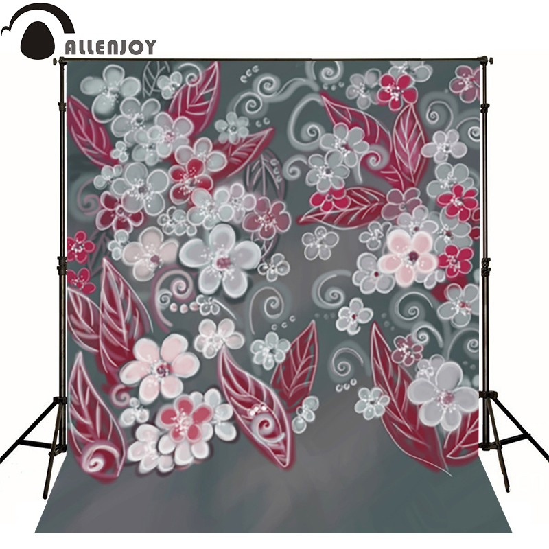 Allenjoy photography backdrops Red leaves pink flower black backgrounds for photo studio send rolled<br><br>Aliexpress