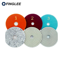 "FINGLEE 3pcs/lot 4"" 100mm Best 3 step marble polishing pads for granite flexible wet use Diamond Polishing Pads(China)"
