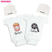 Culbutomind Popcorn Film Perfect Together Twins Baby Bodysuits Summer Cotton Short Sleeve Funny Twins Baby Clothes for 0-12MGirl