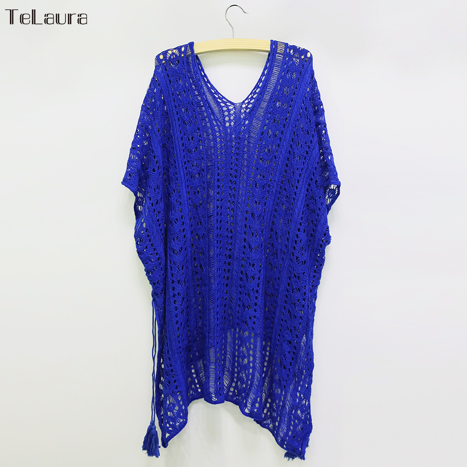 2018 New Beach Cover Up Bikini Crochet Knitted Tassel Tie Beachwear Summer Swimsuit Cover Up Sexy See-through Beach Dress 21