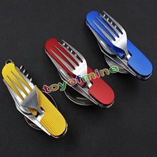 Stainless Steel Camping Cutlery 3 in 1 Multi-Function Folding Cutlery Sets Travel Gears Portable Combination Outdoor Tableware(China)