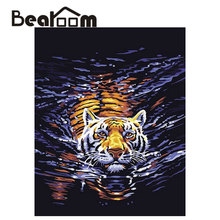 Bearoom Paintings By Numbers On Canvas Drawing Swimming Tiger Handpainted Canvas Painting Gift Wall Pictures Decals No Frame