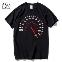HanHent Speedometer Fashion T Shirt Men Cotton Summer Car Speed T-shirt Black Creative Design Tops Tees Fitness Clothing Brand(China)
