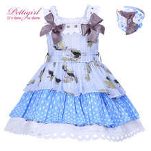 Pettigirl New Summer Blue Dots Printed Girl Dress With Bow High Waist Kids Dress Boutique Children Wear With Hairbands 001-1297