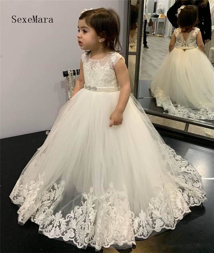 Ivory White Lace Applique Flower Girl Dresses Ball Gowns Child Pageant Dresses Beautiful Formal Little Kids First Communion Gown