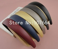 "10PCS 25mm 1.0"" PU leather Covered Plain Plastic Hair Headbands with black velvet back,Assorted Colors,BARGAIN for BULK"