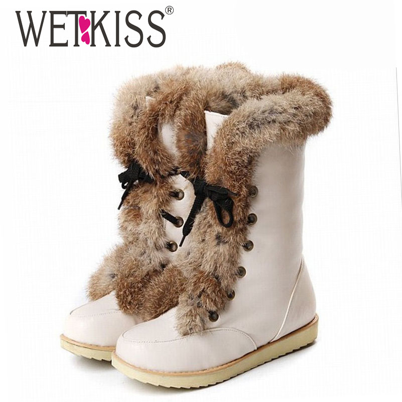 WETKISS Big size 34-43 lace up snow boots brand womens flat warm fur boots winter boots women shoes Warm platform shoes woman<br><br>Aliexpress