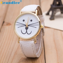 Spl Luxury Brand Women Cat face pattern Leather Band Analog Quartz Vogue Wrist Watches Female Clock Hours Korean Mini Watch