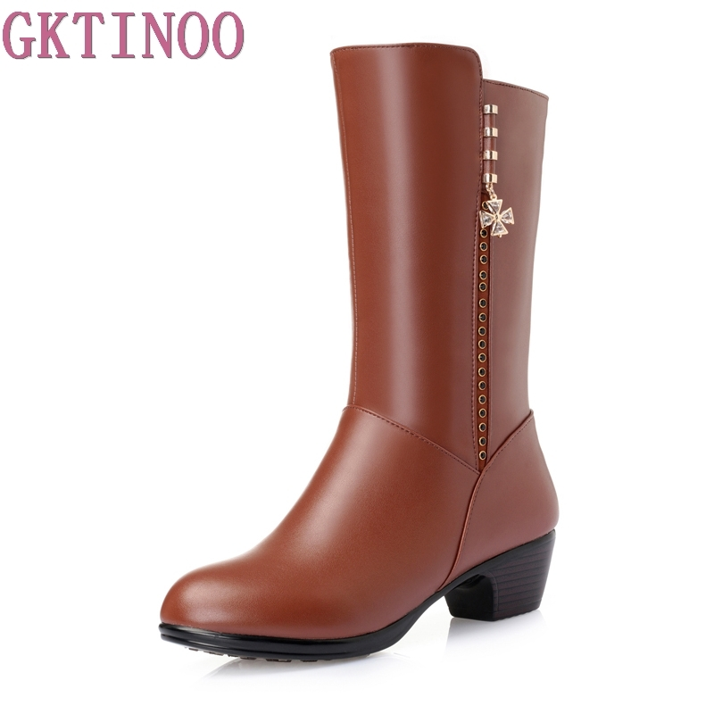 Winter Boots Fashion Genuine Leather+PU Shoes Thick Heel Mid Calf Boots 2017 Womens Fashion Comfortable Shoe Black Plus Size<br>