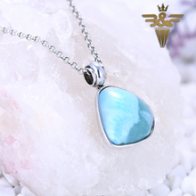 B&F Private custom Natural Stone Gemstone Larimar Beauty Jewelry For Valentine's Day Beauty Silver Pendant(China)