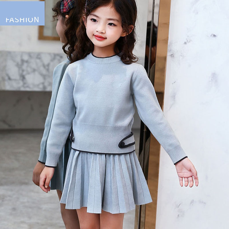 knitting big girl long sleeve set knitted kid girls set 2017 solid blue knit sweaters pleated skits children clothing suits