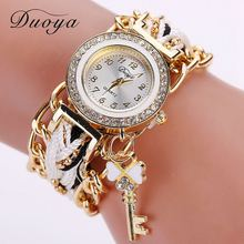 Duoya Brand Watch Women Gold Weave Hand Fashion Ribbon Watches Luxury Crystal Key White Analog Quartz Watch For Ladies