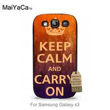 Keep Calm and CARRY ON Print Colorful Cute phone Accessories For case  s3 i9300