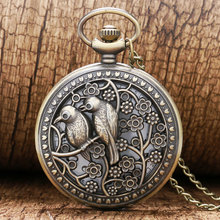 Vintage Hollow Bronze Double Birds Sparrow Case Design Quartz Pocket Watch with Necklace Chain for Women Gift Reloj de bolsillo(China)
