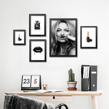 fashion perfume lipstick art poster,Smile Girl canvas pictures,wall decoration for living room,Modern art prints for girl,PD0449