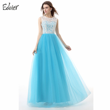 Cheap Bridesmaid Dresses 2017 A Line Scoop Tank Lace Top Tulle Wedding Party Dress Floor Length Blue Long Bridesmaid Dress(China)
