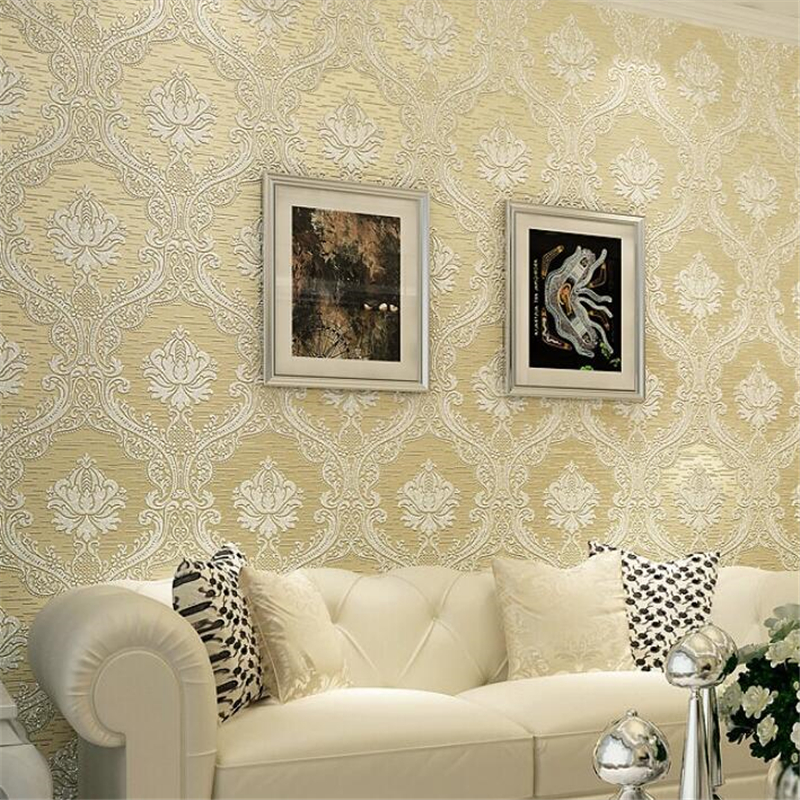 beibehang Classic Europe Damask Wallpaper Embossed Flocking Bedroom Living room TV Background Decoration Wall paper papel parede<br>