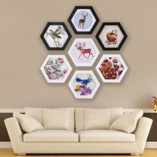 Creative Hexagon Photo Frame Wedding Picture Frame Wall Mounted Picture Photo Frames Holder Family Picture Display Home Decor