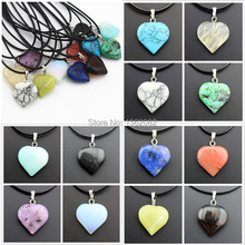 Jewelry Wholesale 12 PCS Natural Stone Crystal Quartz Heart-shaped Charms Pendants Necklace Gift MN425