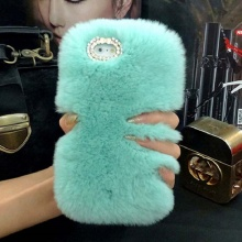 Ayeena Full Hair Cases For Ipod Touch 6 fluffy Hairs Diamond case Rex Real Animal Fur Hoesjes Caja For Touch 5 Fundas De Peluche()