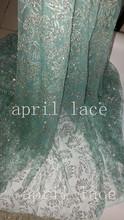 5yards HL043 silver glitter mint green mesh glued sparkle glitter net tulle lace fabric for sawing /evening dress(China)