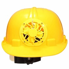 1Pc 0.3W PE Solar Powered Cooling Yellow Fan Security Helmet Outdoor Solar Fan Bike Cycling Safety Hard Ventilate Cool Hat Cap