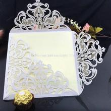 10 pcs Romantic  laser cut hollow Wedding Party Invitation Card 2016 Envelope Delicate Carved Flowers Free Shipping 5Z-SH192