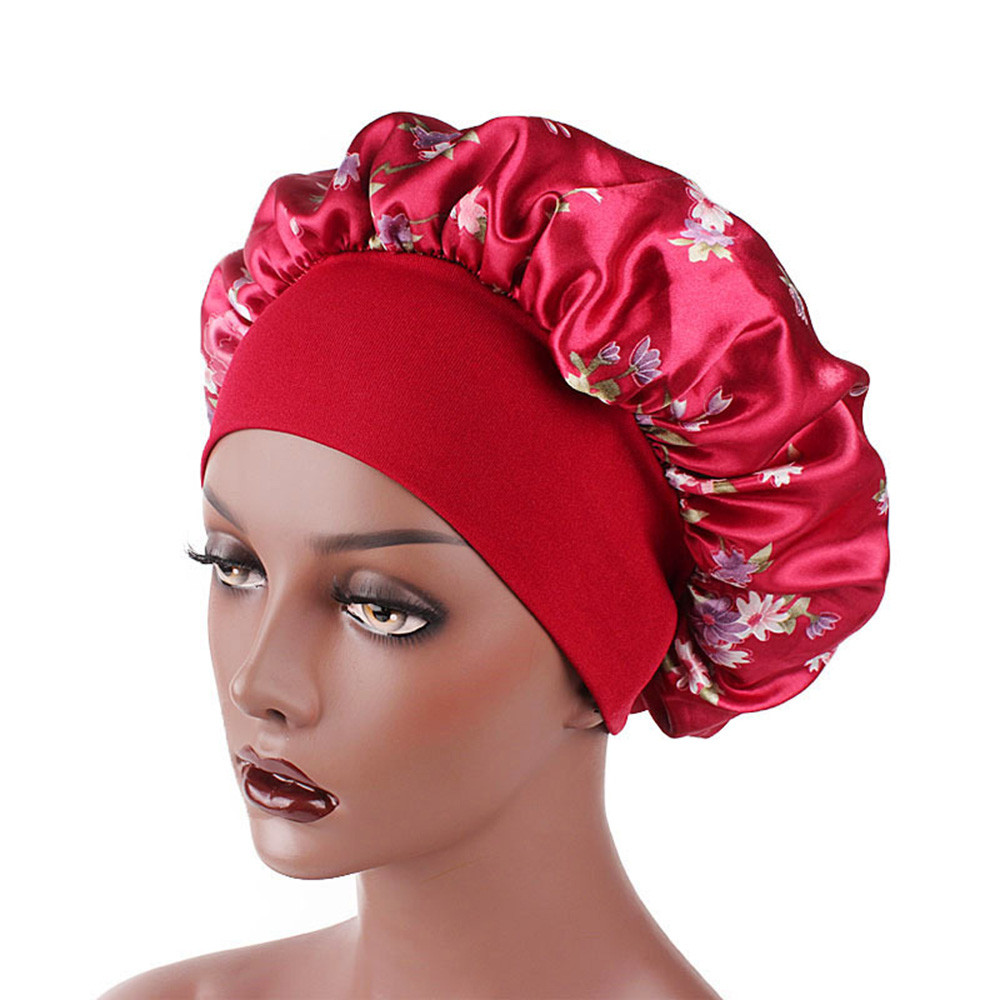 Ladies Soft Long Hair Care Headwrap Women Wide Band Satin Silk Bonnet Soft Silk Long Hair Care Caps(China)