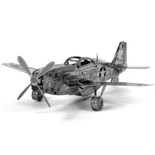 Top Quality Metallic Steel For Nano Intelligence 3D Puzzle P51 Mustang fighter Jigsaw Steamer Model Toy Gifts Decoration enfeite