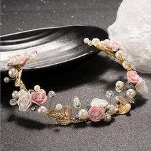 511af490c357 Moda mujeres hairwear oro plata rhinestone pelo vine Bridal Headband  Accesorios perlas joyería Adornos regalos