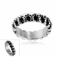 Heavy Metal Fashion Lots Biker Skull Accessories Stainless Steel Exaggerated ring Personality Big Ring Size 7 8 9 GMYR023(China)