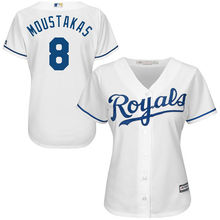 MLB Women's Kansas City Royals Mike Moustakas White Home Cool Base Player Jersey(China)