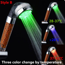 Kceshi Crystal Led Hand Shower Head Led Tourmaline SPA Anion Shower Ducha Chuveiro Led Shower Head Lighting Bathroom Ducha Rain(China)
