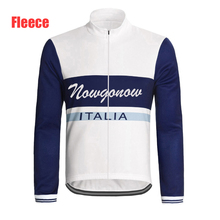 Italy men cycling jersey fleece long sleeve winter cycling clothing white mtb road bike clothing nowgonow full zipper