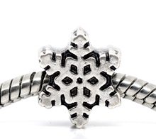Buy DoreenBeads antique silver Christmas Snowflake Charm Beads. Fit European Charm 12x10mm,20PCs, 2015 new for $2.66 in AliExpress store