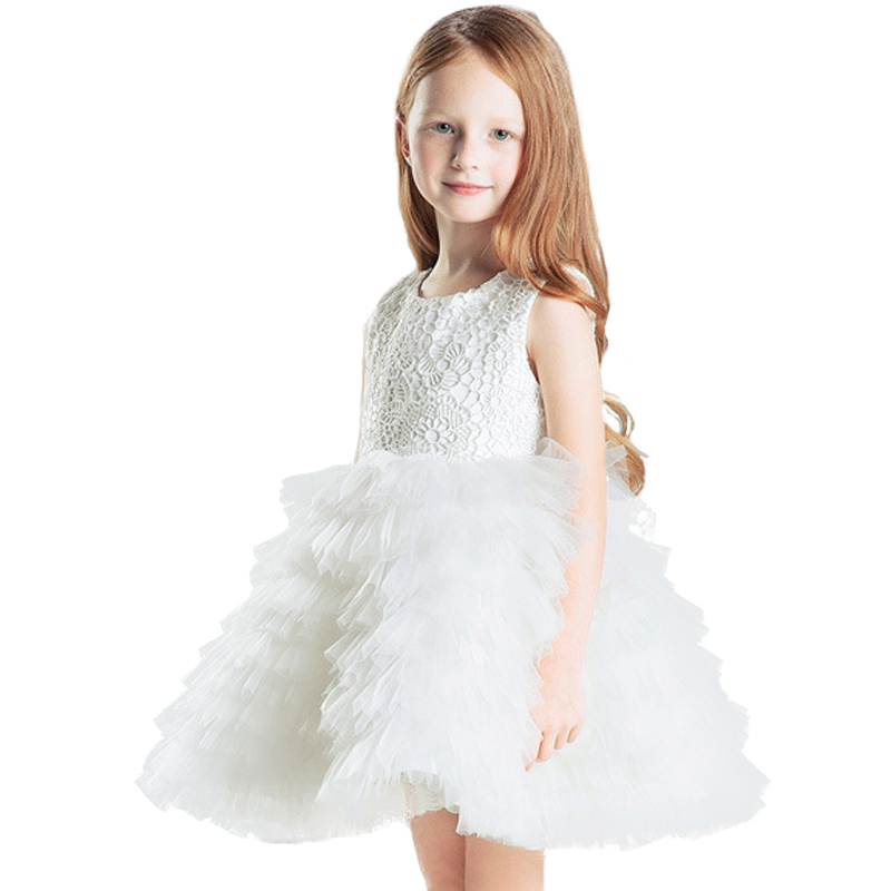 White Princess Children Flower Girl Dresses For Weddings Kid Girls Party Pageant Dress Bow ball Gown For Little Girls<br><br>Aliexpress