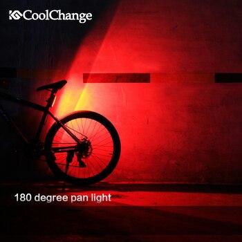 CoolChange Vélo Lumière USB Rechargeable LED montagne De Vélo Avant/Arrière Avertissement Lampe Vélo accessoires Nuit Sécurité feu arrière