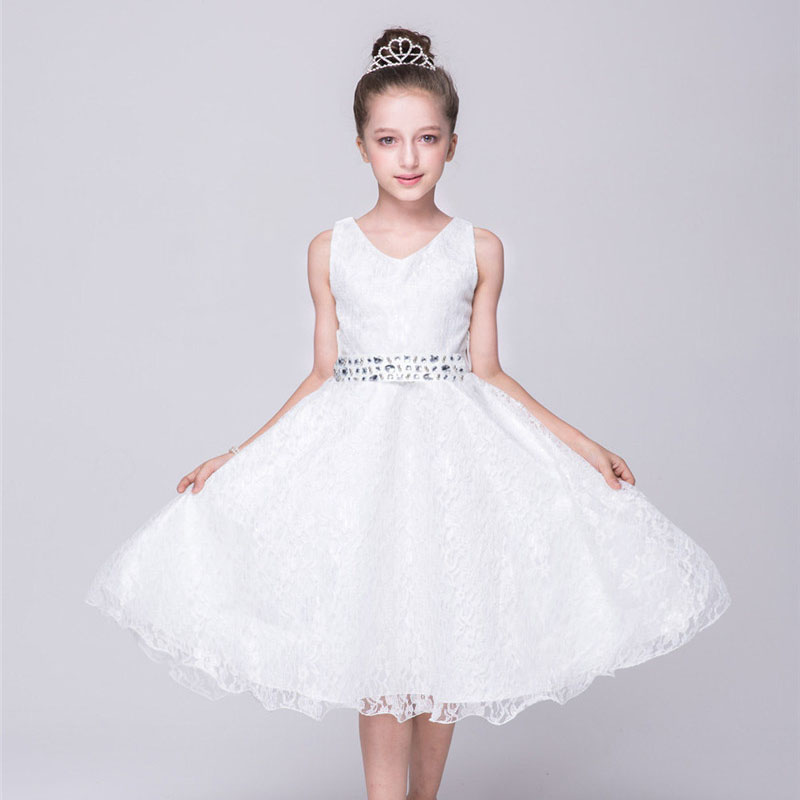 V-Neck Little Girls Party Dress Kids Lace Ruched Print Girl Dress Sleeveless Teen Girls 12 Years Birthday Christening Dresses<br>