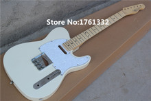 Factory custom DIY 22 frets 6 strings milk-white string-thru-body electric guitar with white pearl pickguard,maple fingerboard