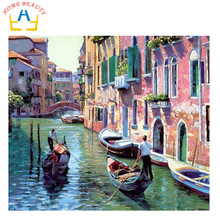 HOME BEAUTY 40x50cm picture paint on canvas diy digital oil painting by numbers home decoration craft gifts water city boat G086(China)