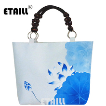 ETAILL Beaded Top-handle Casual Canvas Tote Bag Lotus Hand Painted Ladies Shoppers Handbag Big National Linen Shoulder Bags(China)