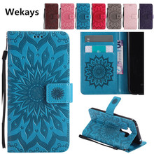 Luxury 3D Sun Flower Magnetic Slots Leather Flip Phone Brand Cases For Samsung Galaxy Grand Prime G530 G531H G5308W Cover Case(China)