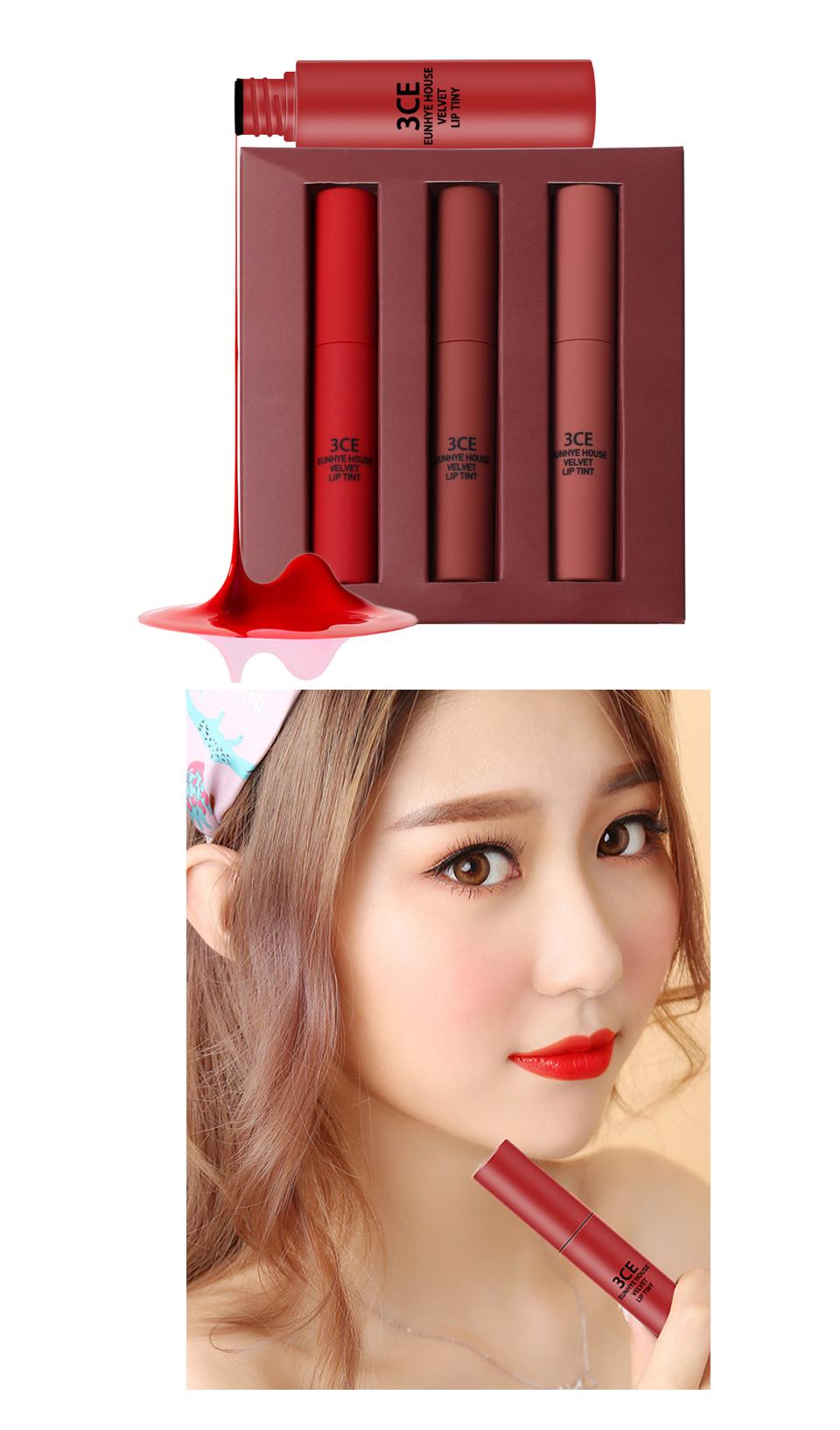 3CE Eunhye House Brand New Lip Cosmetics 3 colors Lip glaze Moisturizer Long-lasting Lip Makeup for common 11