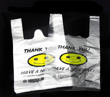 0.03mm Transparent smiling face vest bags New material durable plastic packaging fresh fruit and vegetables pouches(China)
