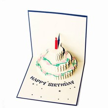 Birthday Cake 3D paper laser cut pop up handmade post cards custom gift greeting cards party supplies Hot Sale