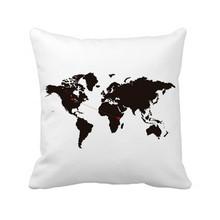 "New World Map Cushion Cover Love Throw Pillow Case Country to Country Long Distance Relationship Pillow Covers 18"" Two Sides(China)"