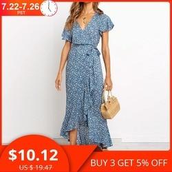 Летнее шифоновое длинной платье с цветочным принтом, оборками и V-образным вырезом