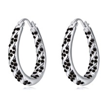 Unisex Hoop Earrings Black Hoop Earrings Made With Genuine Czech Crystal Rhodium Plated Cheap Hoop Earrings Wholesale 4 Colors