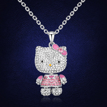 Trendy Beautiful Cute Hello Kitty Necklace Collier Top Quality Austria Crystal Jewelry Made With Austria Elements